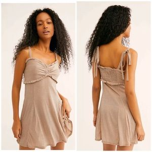 Free People Shine Like This Mini Dress 12 M L Nude